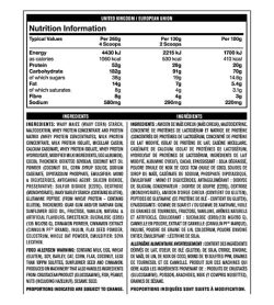 Nutrition facts and ingredients panel of Mutant Mass for serving size of 260 g, 130 g and 100 g