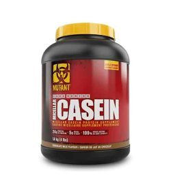 Black and red container with yellow cap of Mutant Core Series Micellar Casein with chocolate milk flavour with 4 lbs
