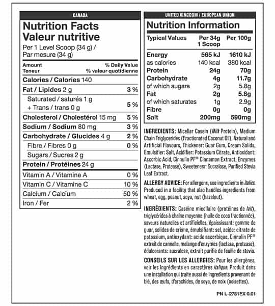 Nutrition facts and ingredients panel of Mutant Micellar Casein for serving size of 1 level scoop (34 g)