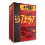 Red and black box of Mutant All New Test Male Performance Dietary Supplement contains 180 capsules and free gift inside