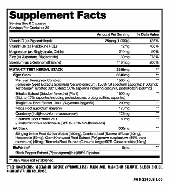 Supplement facts and ingredients panel of Mutant Test for serving size of 6 capsules with 30 servings per container
