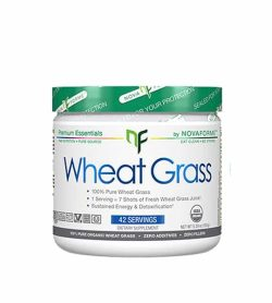White container with green graphic cap of Novaforme Wheat Grass 100% pure wheat grass contains 42 servings