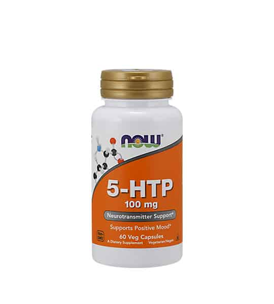 White and orange bottle with gold cap of Now 5-HTP 100 mg Neurotransmitter Support* contains 60 veg capsules