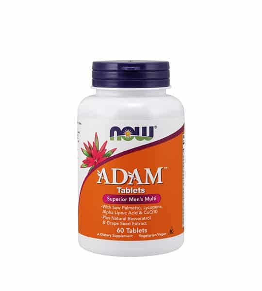 White and orange bottle with black cap of Now ADAM Tablets Superior Men's Multi contains 60 tablets