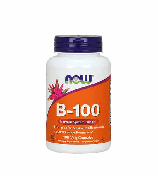 White and orange bottle with black cap of Now B-100 Nervous System Health* contains 100 veg capsules