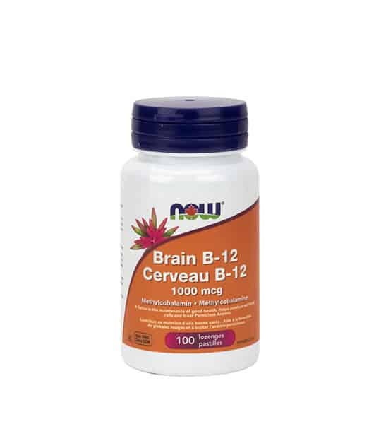 White and orange bottle with black cap of Now Brain B-12 Methylcobatamin 1000 mcg contains 100