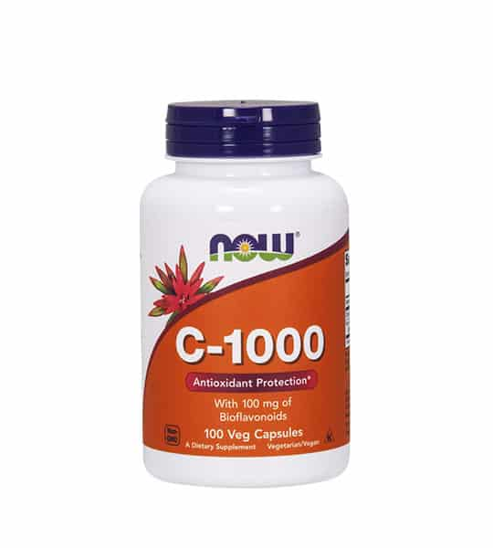 White and orange bottle with black cap of Now C-1000 Antioxidant Protection* contains 100 veg capsules