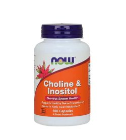 White and orange bottle with black cap of Now Choline & Inositol Nervous System Health* contains 100 capsules