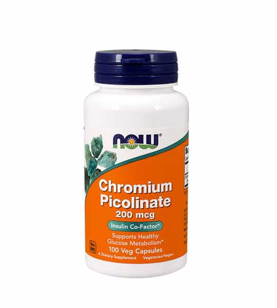White and orange bottle with black cap of Now Chromium Picolinate 200 mcg Insulin co-factor* cotains 100 veg capsules