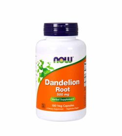 White and orange bottle with black cap of Now Dandelion Root 500 mg Herbal Supplement contains 100 veg capsules
