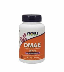 White and orange bottle with black cap of Now DMAE 250 mg Healthy Brain Function contains 100 veg capsules