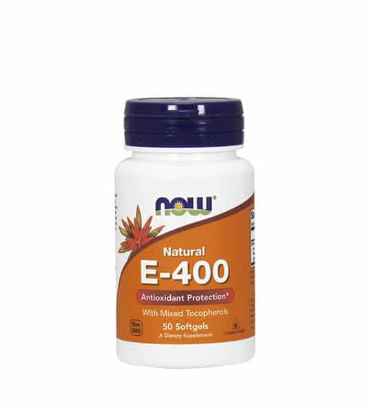 White and orange bottle with blue cap of Now Natural E-400 Antioxidant Protection with Mixed Tocopherols