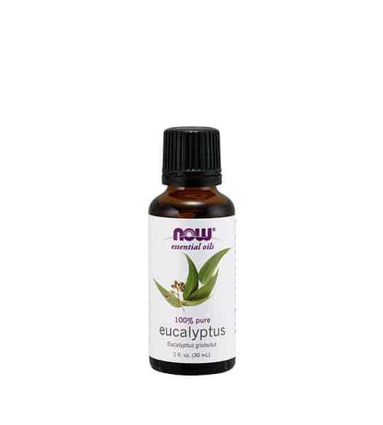 Brown bottle with white label of Now 100% pure Eucalyptus contains 1 fl oz (30 ml)