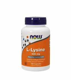 White and orange bottle with blue cap of Now L-Lysine 500 mg Essential Amino Acid contains 100 capsules