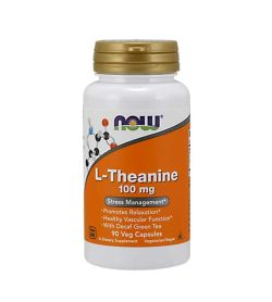 White and orange bottle with gold cap of L-Theanine 100 mg Stress Management contains 90 veg capsules