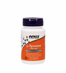 White and orange bottle with black cap of Now L-Tyrosine 500 mg Neurotransmitter support contains 60 capsules