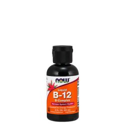Black bottle with white and orange label of Now Liquid B-12 B-Complex Nervous System Health* contains 2 fl oz (59 ml)