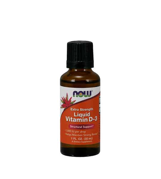 Brown bottle with white and orange label of Now Extra Strength Liquid Vitamin D-3 Structural Support contains 1 fl oz (30 ml)