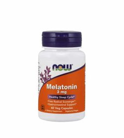 White and orange bottle with blue cap of Now Melatonin 3 mg Healthy Sleep Cycle contains 60 veg capsules
