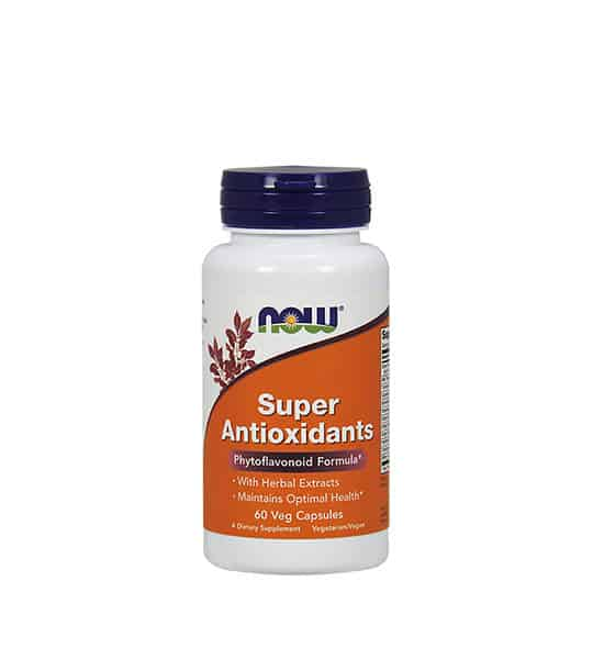 White and orange bottle with blue cap of Now Super Antioxidants Phytoflavonoid formula contains 60 veg capsules