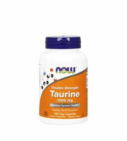 White and orange bottle with blue cap of Now Double Strength Taurine 1000 mg nervous system health contains 100 veg capsules