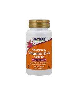 White and orange bottle with gold cap of Now High Potency Vitamin D-3 1000 IU structural support contains 180 softgels