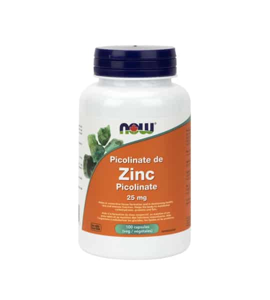 White and orange bottle with purple cap of Now Zinc Picolinate 25 mg contains 100 capsules