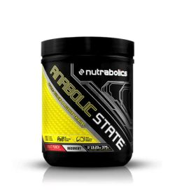 Black and yellow container with black lid of Nutrabolics Anabolic State with Fruit Punch flavour contains 375 g