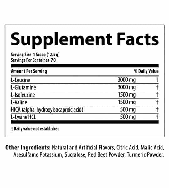 Supplement facts and ingredients panel of Nutrabolics Anabolic State for serving size of 1 scoop (12.5 g) with 70 servings per container