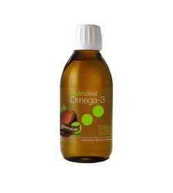 Brown bottle with white cap of NutraSea Omega-3 with Chocolate flavour contains 200 ml shown in white background