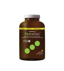 Brown bottle with white cap of Ascenta NutraSea Omega 3 value pack contains 240 softgels