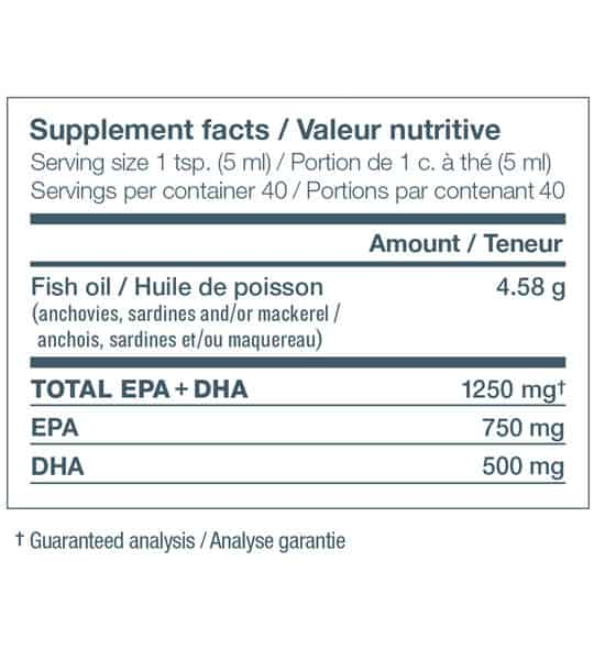 Supplement facts panel of Nutrasea for serving size of 1 tsp. (5 ml) with 40 servings per container