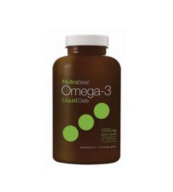 Brown bottle with white cap of NutraSea Omega-3 Liquid Gels 1250 mg EPA+DHA contains 150 softgels