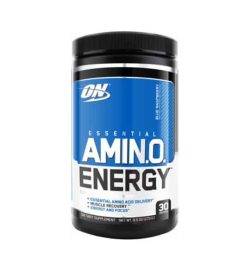 Black container with blue and white label of ON Optimum Nutrition Essential Amino Energy contains 30 servings