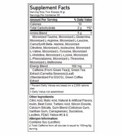 Supplement facts and ingredients panel of ON Optimum Nutrition Amino Energy for serving size of 2 scoops (9 g)