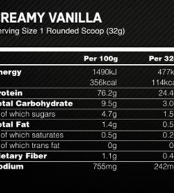 Nutrition facts panel of Optimum Nutrition Casein Creamy Vanilla for serving size 1 rounded scoop (32 g)