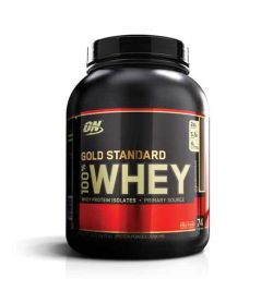 Black and red container with black lid of ON Optimum Nutrition Gold Standard 100% Whey contains 5 lbs