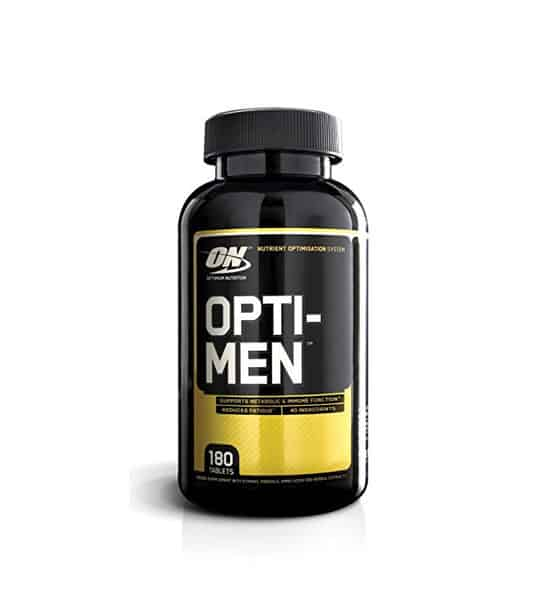 Black and yellow bottle with black cap of Optimum Nutrition Opti-Men contains 180 tablets