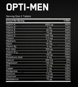 Nutrition facts panel of Optimum Nutrition OIpti-Men for serving size of 3 tablets shown in white text in black background