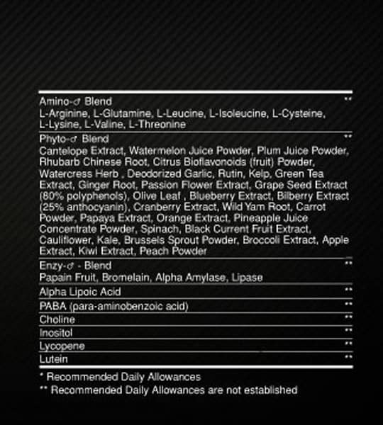 Nutrition facts panel of Optimum Nutrition Opti-Men shown in white text in black background