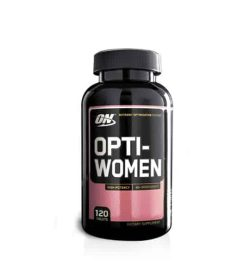 Black and pink bottle with black cap of Optimum Nutrition Opti-Women High Potency contains 120 tablets
