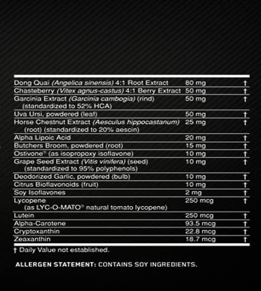 Nutrition facts and allergen statement panel of Optimum Nutrition Opti Women shown with white text with black background