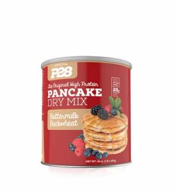 Red container showing pancakes of P28 Pancake dry mix with buttermilk flavour with net wt. 453 g