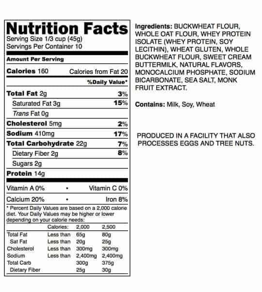 Nutrition facts and ingredients panel of P28 Protein Pancake Dry Mix for serving size of 1/3 cup (45 g) contains 10 servings per container