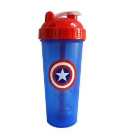 Blue bottle with red and white lid of Perfect Shaker Captain America shown in white background