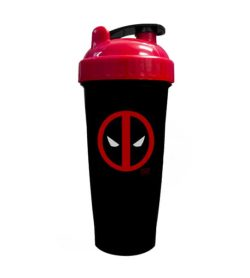 Black bottle with red and black lid of Perfect Shaker Deadpool shown in white background
