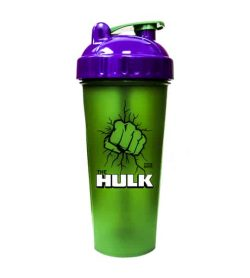 Green bottle with purple and green lid of Perfect Shaker Hulk shown in white background