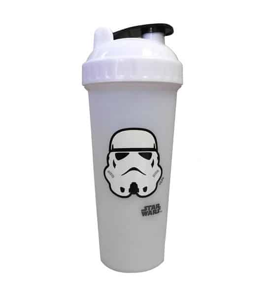 White bottle with white and black lid of Perfect Shaker Star wars storm trooper shown in white background