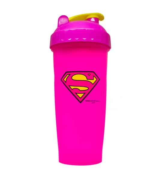 Pink bottle with pink and yellow lid of Perfect Shaker Supergirl shown in white background