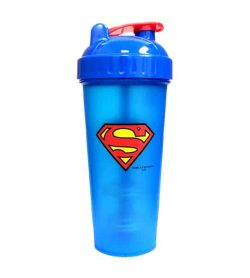 Blue bottle with blue and red lid of Perfect Shaker Superman shown in white background